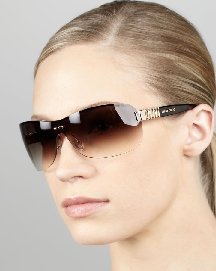Jimmy Choo Gradient Shield Sunglasses, Brown/Golden Havana