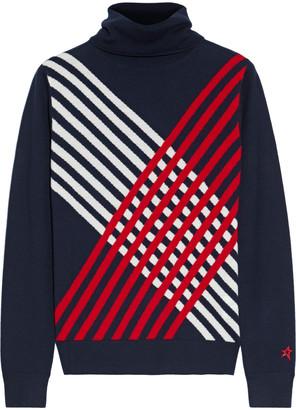 Perfect Moment Rainbow Stripes Intarsia Merino Wool Turtleneck Sweater