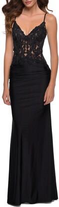 La Femme Shiny Lace Gown