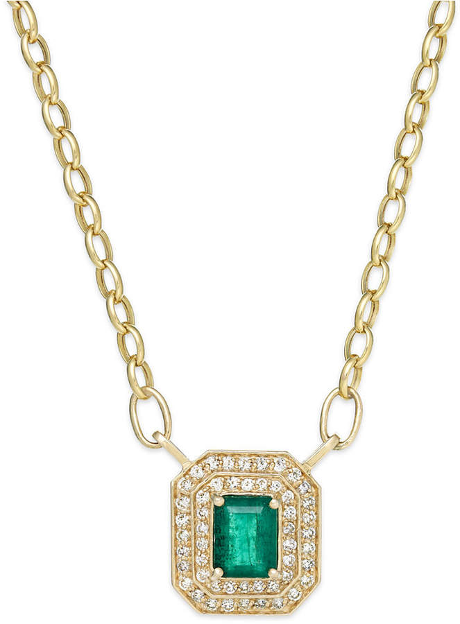 Effy Brasilica by Emerald (1-3/8 ct. t.w.) and Diamond (1/2 ct. t.w.) Pendant Necklace in 14K Gold, Created for Macy's