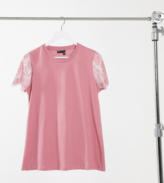 ASOS DESIGN Maternity t-shirt with lace sleeve detail in dusty pink