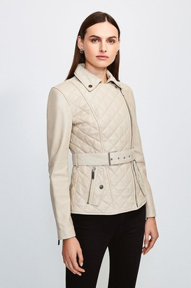 Karen Millen Leather Belted Quilted Jacket
