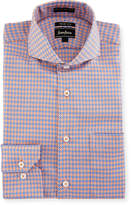Neiman Marcus Trim-Fit Dobby Check Dress Shirt, Orange/Blue