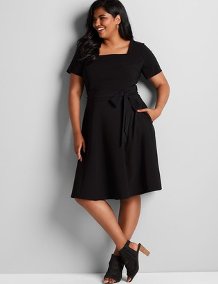 Lane Bryant Lena Square-Neck Fit & Flare Dress