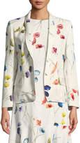 Escada Watercolor Floral-Print 2-Button Blazer w/ Sequins