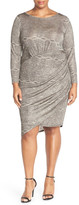 Adrianna Papell Print Side Ruched Jersey Sheath Dress (Plus Size)