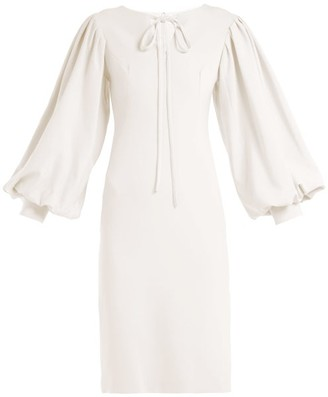 Osman Maxine Blouson-sleeve Midi Dress - Womens - Ivory