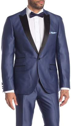 Paisley & Gray Grosvenor Blue Solid One Button Peak Lapel Tuxedo Jacket