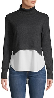 Brochu Walker Layered Turtleneck Cashmere Cotton-Blend Top