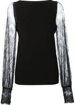 Plein Sud Jeans sheer lace sleeve blouse - women - Nylon/Polyamide - 38