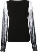 Plein Sud Jeans sheer lace sleeve blouse - women - Nylon/Polyamide - 44
