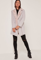 Missguided Faux Fur Lined Faux Wool Longline Biker Jacket Nude