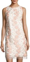Donna Ricco Floral-Embroidered Sleeveless Dress, White/Pink