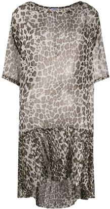 P.A.R.O.S.H. Leopard Print Sheer Dress