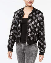 Say What Juniors' Star Sequined Bomber Jacket