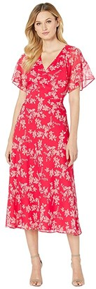 Lauren Ralph Lauren Floral Tie-Front Georgette Dress (Watermelon/Pink/Multi) Women's Clothing