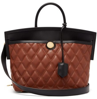 Burberry Society Small Quilted Leather Tote Bag - Tan Multi