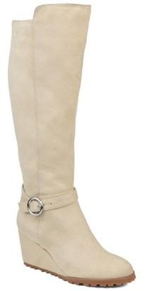 Brinley Co. Womens Comfort Extra Wide Calf Microsuede Wedge Boot
