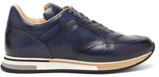Dunhill Duke Patina Low-top Leather Trainers - Mens - Navy