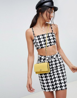 Asos Design DESIGN denim crop top with skinny straps in houndstooth-Multi