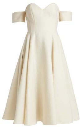 Sara Battaglia Off-the-shoulder Wool-blend Dress - Womens - Cream