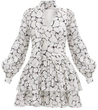 Aje Rebellion Tie-neck Printed-lace Mini Dress - White Black