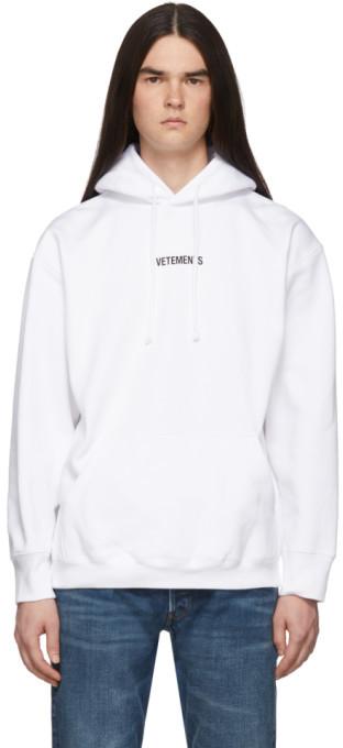 Vetements White Logo Hoodie