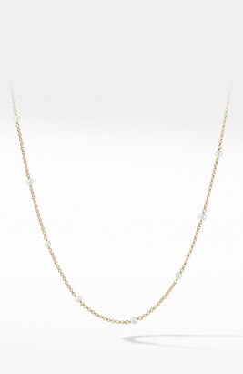 David Yurman Cable Collectibles Bead & Chain Necklace in 18K Yellow Gold with Pearls