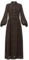 Ganni Polka Dot-print Georgette Shirtdress - Womens - Black