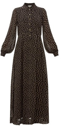 Ganni Polka Dot-print Georgette Shirtdress - Womens - Black