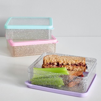 Pottery Barn Teen Gold/Pink Glitter Sandwich Box
