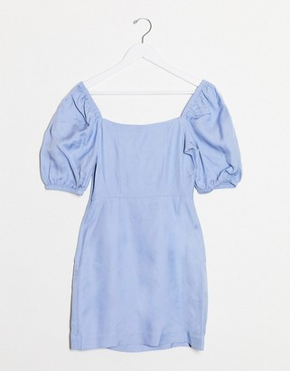 And other stories & bold shoulder mini dress in cornflower blue