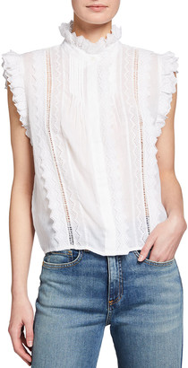 Frame Natalie High-Neck Lace Top