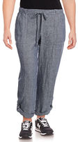 Lord & Taylor Petite Roll-Up Linen Pants