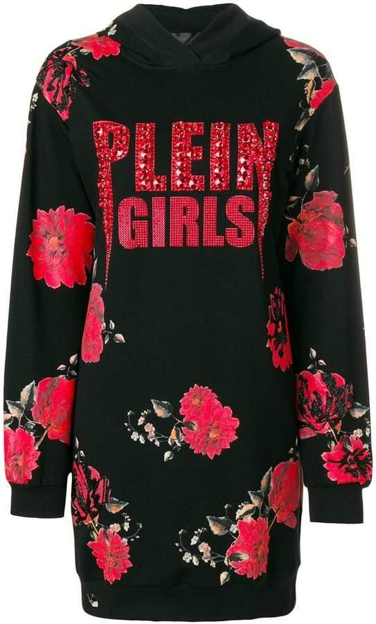 Philipp Plein Plein Girls floral hoodie dress