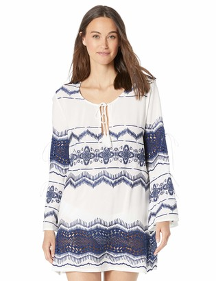 La Blanca Women's Cool Shoulder V-Neck Embroidered Tunic Swim Cover-Up