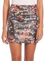 The Kooples Flower Print Leather Skirt