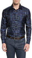 Brioni Bird-Print Plaid Silk Sport Shirt, Navy
