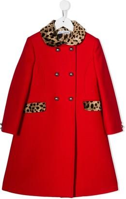 Dolce & Gabbana leopard print detail coat