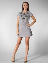 Karta Short Sleeve Stones Shift Dress in Silver