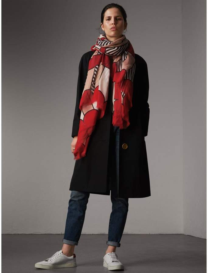Burberry Striped Exaggerated Check Cashmere Silk Scarf