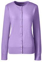 Lands' End Women's Tall Supima Cotton Cardigan Sweater-Gemstone Teal