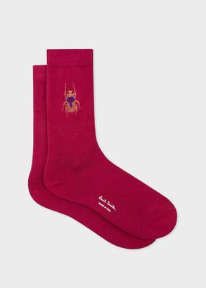Paul Smith Women's Burgundy Embroidered 'Beetle' Socks