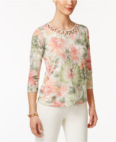 Alfred Dunner Botanical Garden Lattice-Trim Floral-Print Top