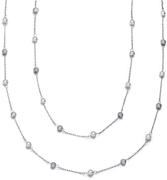 Genevive Silver Cz Double Strand 60In Necklace