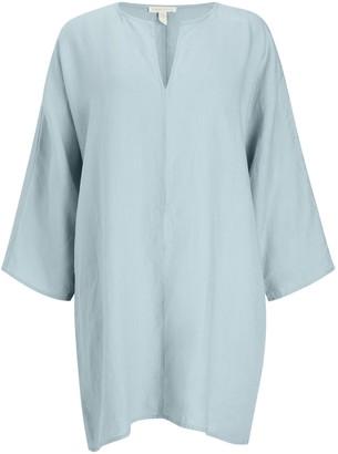 Eileen Fisher Organic Linen Split Neck Tunic Top, Dawn