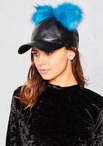 Missy Empire Mya Black Faux Leather Double Blue Pom Pom Cap