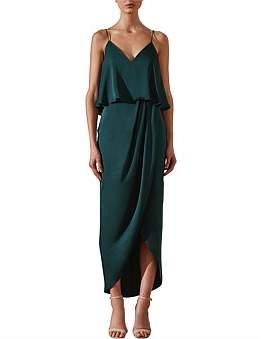Shona Joy Draped Cocktail Frill Dress Emerald