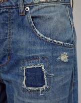 Asos Saxby Boyfriend Jeans in Light Wash Vintage Rip and Repair