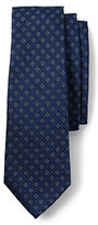 Lands' End Men's Silk Texture Star Neat Necktie-Deep Sea Stripe